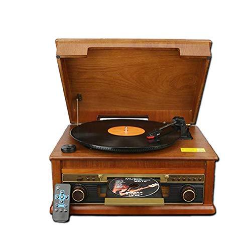 Hejok LP Tocadiscos portátil Vintage Tocadiscos eléctrico Reproductor de CD Radio Bluetooth...