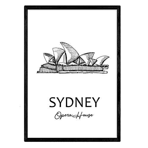 Sydney - Opera House Poster. Bladeren met monumenten van steden. A3-formaat