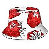 Yaxinduobao Sombrero de Pescador de Fresas Rojas, Sombrero de Cubo para Hombres y Mujeres, Gorra de Pescador de Pesca para Playa, Sombrero de Pescador de Doble Cara