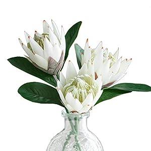 Artificial Flowers Fake Silk Protea Cynaroides Plastic Flower Arrangements Decor Bouquet for Wedding Table Centerpieces 3pcs (White)