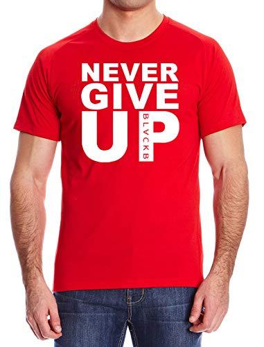 "Liverpool-Fan T-Shirt mit Aufschrift ""Never Give Up"" Mohamed Salah Style, Rot L"