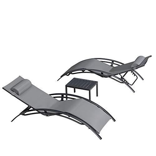 PURPLE LEAF Sonnenliege Gartenliege Chaiselongue-Sets für Terrasse Rasen Garten Deck Schwimmbad, Grau