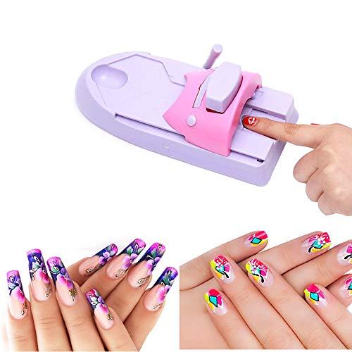 Impresora de arte de uñas DIY Stamper Máquina de impresión de manicura Stamper Impresora de uñas Herramientas de manicura Nail Colors Stamper Machine Set con 5 placas de acero de patrón