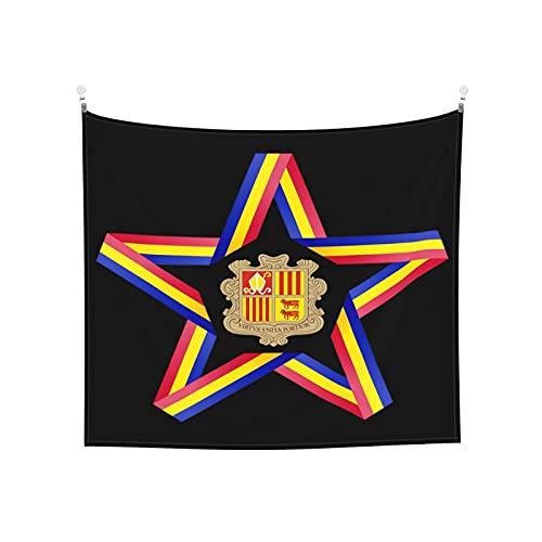 Wandteppich, Stern mit Andorra-Flagge, Wandbehang, Boho, beliebt, mystisch, Trippy, Yoga, Hippie, Wandteppiche für Wohnzimmer, Schlafzimmer, Schlafsaal, Heimdekoration, Schwarz & Weiß