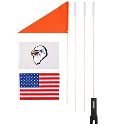 szlzhsm Upgraded Bike Flags with Pole for Safety,6 ft High Visibility Orange Flags with Heavy Duty Fiberglass Flag Pole,Tear-Resistant Polyester Bicycle Safty Flag, Eagle and American Flag