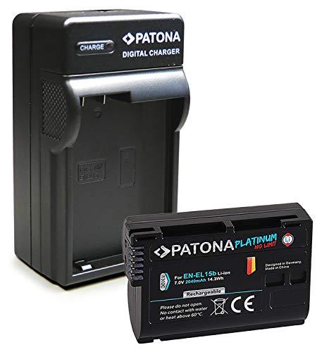 PATONA 3en1 Cargador + Platinum Batería EN-EL15 Compatible con Nikon D7000, D7100, D7200, D7500