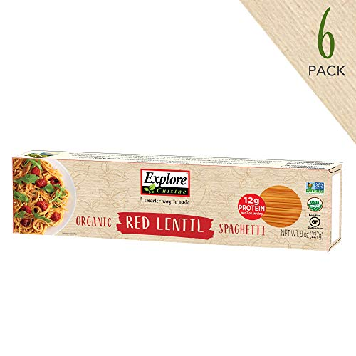 Explore Cuisine Organic Red Lentil Spaghetti (6 Pack) - High Protein, Gluten Free Pasta, Easy to Make - USDA Certified Organic, Vegan, Kosher, Non GMO - 24 Total Servings