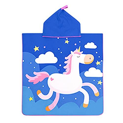 Niños con capucha de baño toalla de toalla de toalla de playa para niños niñas niñas piscina toalla de piscina con capucha Poncho Pull-On Quick Dry Cloak Funda para niños ( Color : L white horse )
