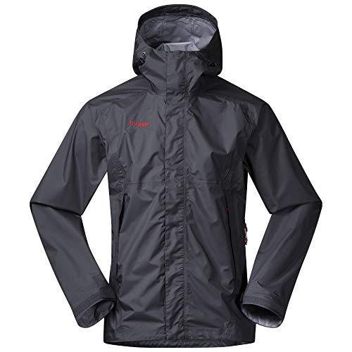 Bergans Super Lett Jacket Grau, Herren Dermizax™ Regenjacke, Größe XXXL - Farbe Solid Dark Grey - Fire Red