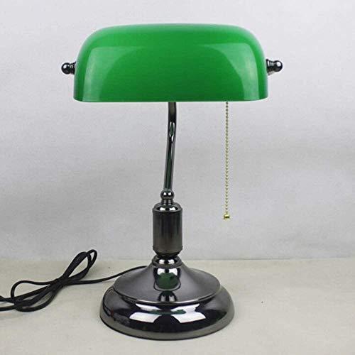 Banquero lámpara verde sombra retro bronce lámpara de mesa tradicional estudio diseño simple diseño ojo lectura lámpara-Pureblack
