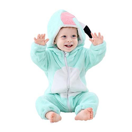 YOUJIAA Unisexe Animal Barboteuse pour Bébé Filles Garçons Flanelle Chaude Manche Longue Pyjamas Combinaison à Capuche (Bleu Flamant, 100)