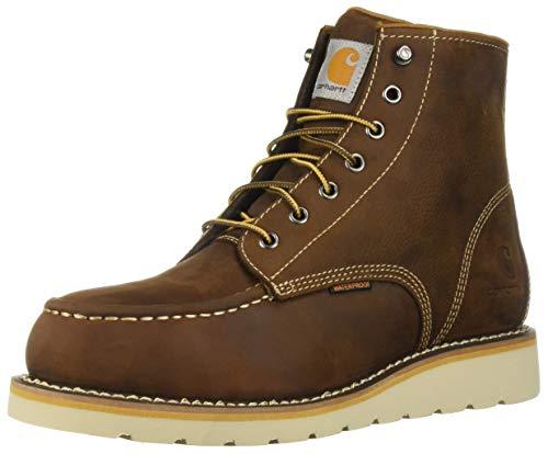 Carhartt Men's 6 Inch Waterproof Wedge Steel Toe Work Boot, Brown oil tanned, 11