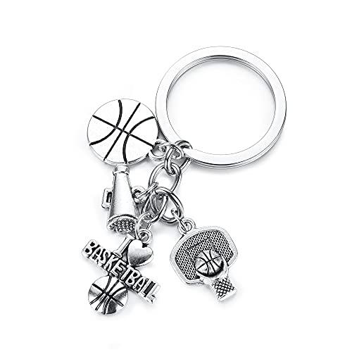 Jovivi Llavero de baloncesto de acero inoxidable con cesta de la pelota, colgante de baloncesto, regalo para fans