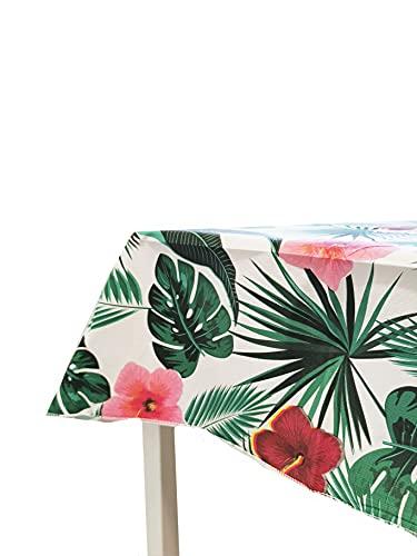 NAUTICALMANIA Mantel Cuadrado Hule PVC Plastificado 140x140 Tropical Tonos Verdes Fácil Limpieza y Desinfección - Apto para Interior y Exterior - 100% Original