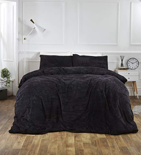 Brentfords Teddy Fleece Duvet Cover with Pillow Case Thermal Fluffy Warm Cosy Soft Bedding Set, Black, Single