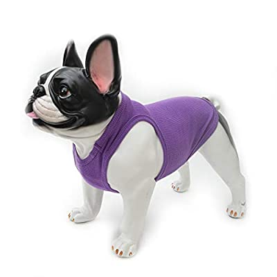 lovelonglong 2019 Summer Pet Clothing, Dog Clothes Blank T-Shirts Ribbed Tanks Top Thread Vests for Large Medium Small Dogs 100% Cotton Purple L-M