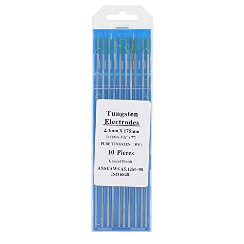 Electrodos de tungsteno puro, 10 piezas de electrodos de tungsteno puro WP punta verde 1,0/1,6/2,0/2,4/3,2mm para soldadura Tig de CA(2.4mm*175mm)
