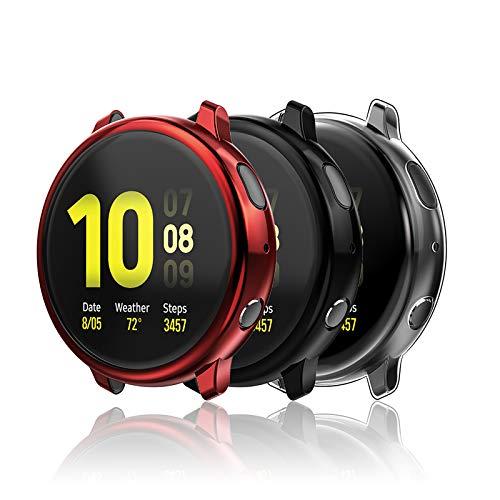 Hianjoo [3 Pack Custodia Compatibile per Samsung Galaxy Watch Active 2 44mm, Antiurto Schermo TPU Protezione Cover Compatibile per Samsung Galaxy Watch Active 2 - Trasparente, Nero, Rosso