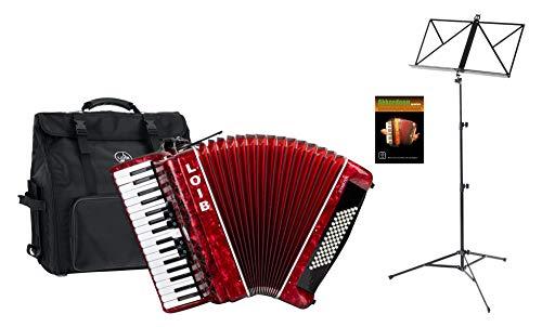 Loib Starter III 72 RD Einsteiger Akkordeon Set (Einsteiger Akkordeon mit 72-Bässen inkl. Riemen, Rucksack-Tasche, Notenständer & Akkordeon Schule) Rot