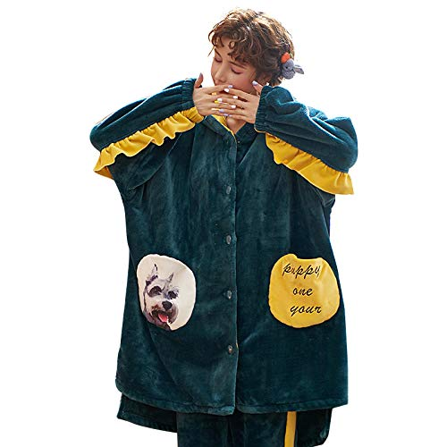 DFDLNL Conjuntos de Pijamas de Franela para Mujer Otoo Invierno Animal Batas para Perros Ropa de Dormir Gruesa y clida para Mujer Collar con Capucha Ropa de hogar Femenina L.