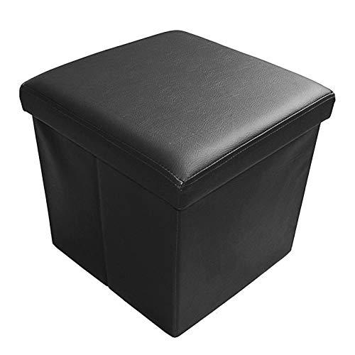 Natsen Sitzhocker Sitzwürfel Aufbewahrungsbox Faltbare Sitzbank Fußbank Fußablage Hocker belastbar bis 300 kg, Kunstleder, 38x38x5 cm (Schwarz)