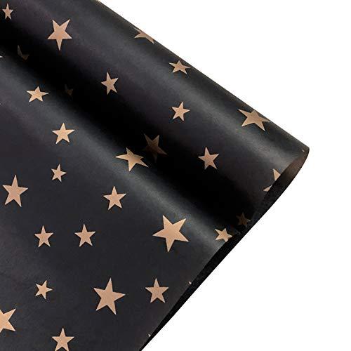 NICROLANDEE Papel de regalo con estampado de estrellas doradas, 8 hojas de papel de seda metálico para envolver regalos, manualidades, bodas, fiestas de cumpleaños, etc.
