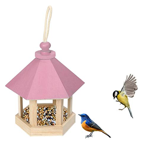 YDGHD 1PACK Wooden Bird Feeders Hanging Type Outdoor Pet Bird Seeds Food Feeder Tree Garden Snacks Bucket Holder Bird Feeder Feed Station (Pink)