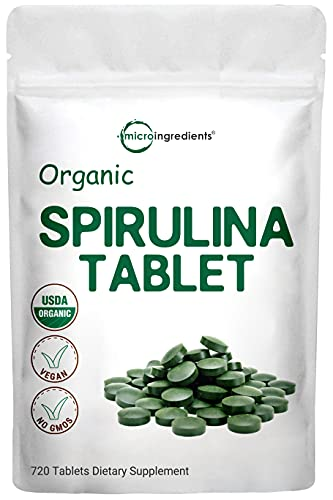 Organic Spirulina Supplement (Spirulina Organic), 3000MG Per Serving, 720 Tablets (4 Month Supply), Rich in Chlorophyll, Immune Vitamins, Prebiotics, Fiber, Proteins, Premium Spirulina Pills Organic