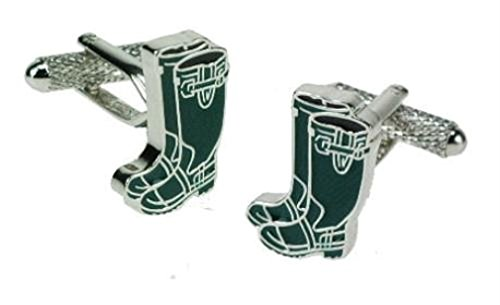 Bottes en caoutchouc Vert Boutons de manchette-Coffret cadeau-Onyx-Art London CK540