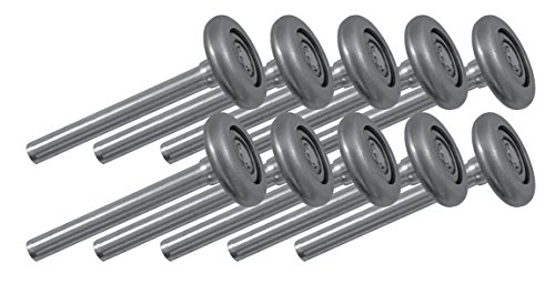 Ideal Security SK7171 Garage Door Rollers 2 inch Wheels with 10 Ball-Bearings, 4 inch stem, 10-Pack, Durable Steel