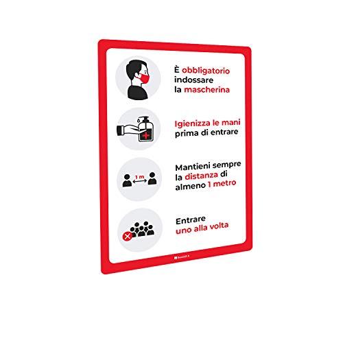 Adesivi e Cartelli Covid-19 Segnaletica con regole di sicurezza e comportamento, bolle - Adesivo PVC o Pannello Forex (Adesivo PVC lucido, A3 tipologia 2)