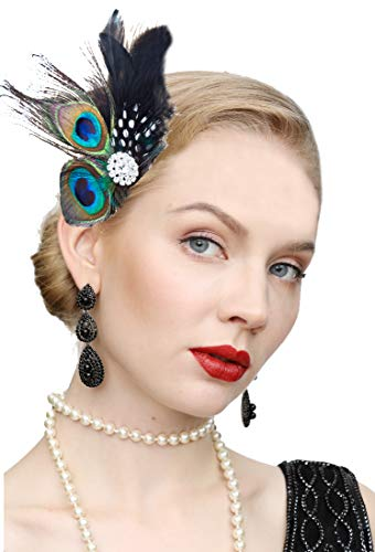 1920s Gatsby Acessories Peacock Costume Hair Clip with Feather Pearl 1920 Flapper Headpiece (Peacock-2)