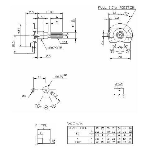 Jellyfish Audio 500K audio Log Pot A500K 24mm para válvula y amplificadores...