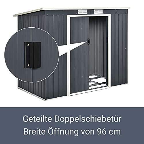 Juskys Metall Gerätehaus M mit Pultdach, Schiebetür & Fundament   4m³   anthrazit   Geräteschuppen Gartenhaus Schuppen Metallgerätehaus - 7