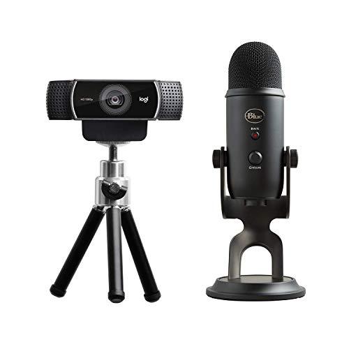 Logitech C922 Cámara Web para streaming con full HD 720p, con trípode y licencia gratuita XSplit (3 meses) + Micrófono Blue Yeti USB para grabación y streaming en PC y Mac, Negro
