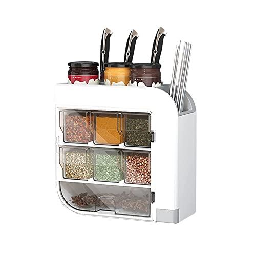 Opslag Spice Jars Kruidendoos Huishouden Keuken Plank Kruiden Gratis Ponsen Rack Chopstick Opbergbuis Wandmontage…