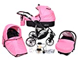 ALLIVIO, 3-in-1 Travel System with Baby Pram, Car Seat, Pushchair & Accessories (3in1 Travel System -Baby tub, Sport seat, Car seat, Black & Bright Pink)