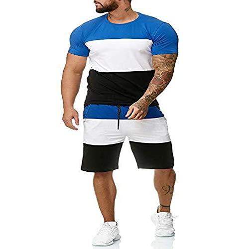 2 Piezas para Hombre Traje Conjunto De Camisa Y Pantalones Cortos De Manga Corta Traje Deportivo Conjuntos De Pantalones Cortos Y Camisetas para Hombre Conjunto De ImpresióN 3D Azul XXL