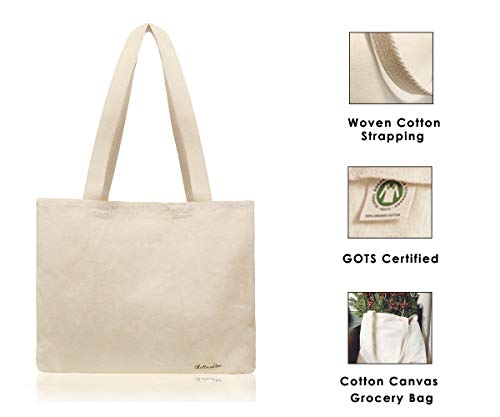 """Organic Cotton Tote Bag - Organic Cotton Bags - Reusable Grocery Bags - Cotton Shopping Tote Bags - Canvas Grocery Shopper Bags - Organic Cotton Grocery Tote (14"""" H x 17"""" W x 5"""", 1 Pack, Natural)"""