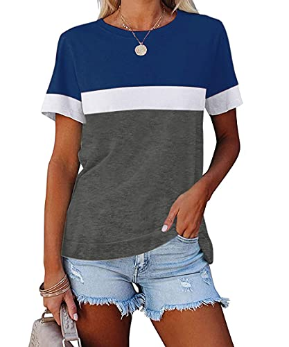 ZIWOCH Women's Summer Color Block Short Sleeve Tunic Tops Crew Neck Casual Basic Comfy Loose Fit T Shirts Navy Blue