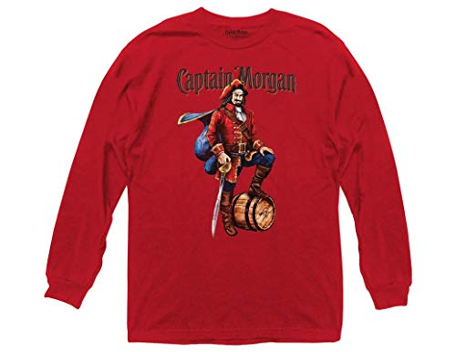 Ripple Junction Captain Morgan Adult Unisex Vintage Label Heavy Weight 100% Cotton Long Sleeve Crew T-Shirt XL Red