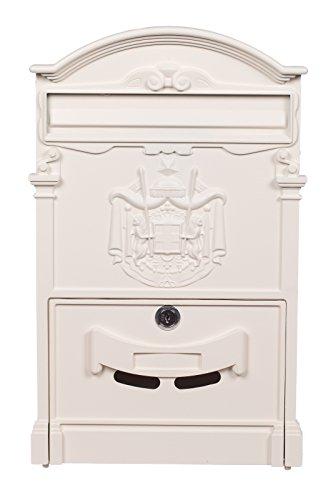 Sarah B Antiker und sehr Edler Briefkasten LB-001 Creme Weiß Wandbriefkasten, Briefkasten, Englischer Briefkasten 41 cm hoch Mit Befestigungsmaterial für die Wand. mit 2 Schlüsseln, Rostfrei