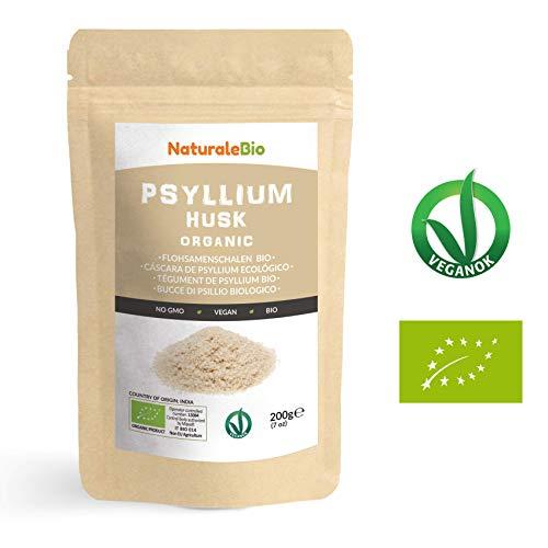 Tégument de Psyllium Blond BIO [Pureté 99%] de 200g. Psyllium Husk AB, Naturel et Pur. 100% Cosses de Graines de Psyllium Indien. Riche en fibres, à consommer dans l'eau, boissons ou jus.