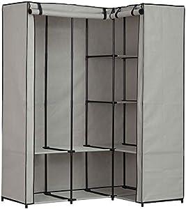 PEGANE Armoire d'angle métal et Tissu, Gris - Dim : L.131 x P.87.5 x H.169 cm