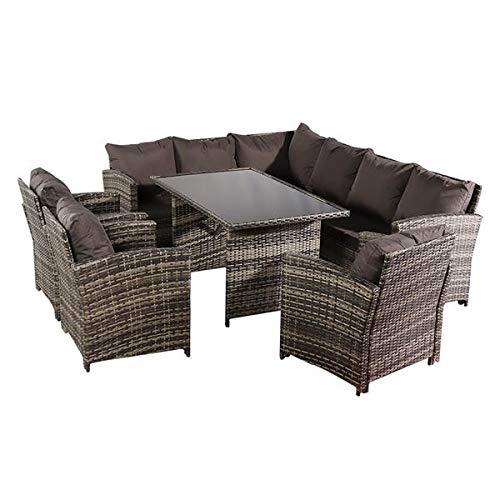 N\C Oshion 9 Seat Rattan Furniture Outdoor Sofa Dining Table with Free Rain Cover 3 Single Chair Sofa Dark Gray Sofa Cover (UK Flame Retardant Material)-Gray Rattan Total 2 Boxes