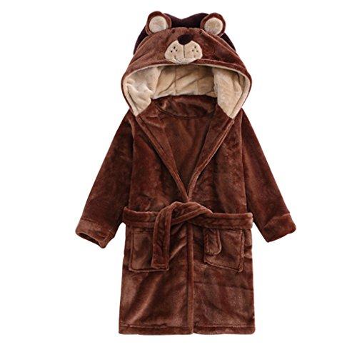 Baby badjas met capuchon jongens meisjes nachtkleding, ideaal als geschenk 140cm/5-6 Jahre C