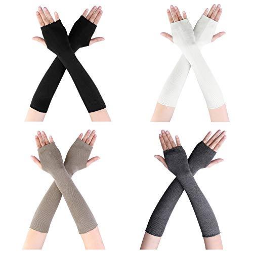 CHIC DIARY Fingerlose Armstulpen Damen Langarm Fäustlinge Lang Handschuhe Warm Stulpen für Winter Herbst (4 Farben bei Auswahl) (4pcs set)