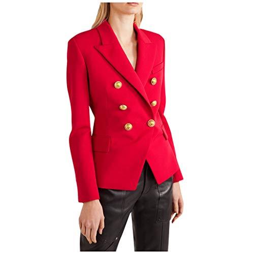 Xmiral Anzug Mantel Damen Umlegekragen Slim Büro Jacke Zweireihige Kleine Anzugjacke für Damen Knöpfe Langarm Anzug Mantel Tops(A Rot,L)