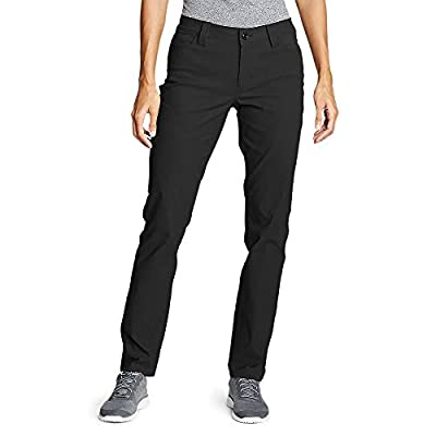 Eddie Bauer Women's Horizon Guide 5-Pocket Slim Straight Pants, Black Regular 12