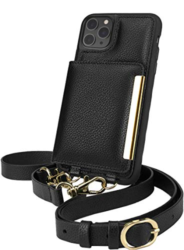Smartish iPhone 11 Pro Max Crossbody Case - Dancing Queen [Purse/Clutch with Detachable Strap & Card Holder] - Stiletto Black-Gold